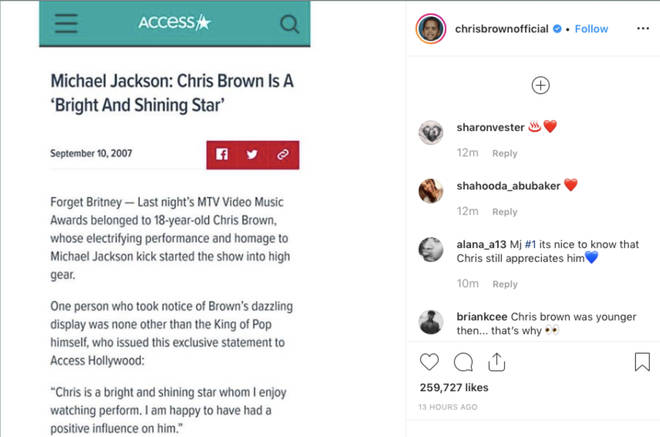 Chris Brown shares Michael Jackson article where the 'King of Pop' praises him