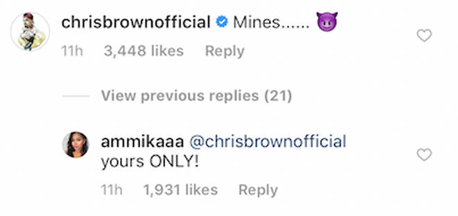 Chris Brown and Ammika Harris claim each other on Instagram