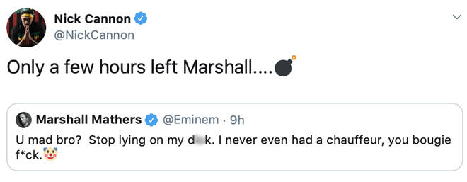 Eminem responds to Nick Cannon's diss track on Twitter