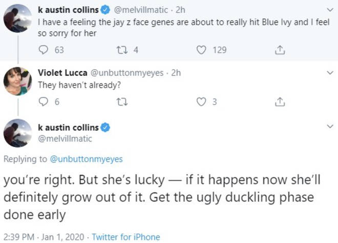 Collins insults Blue Ivy's looks on Twitter