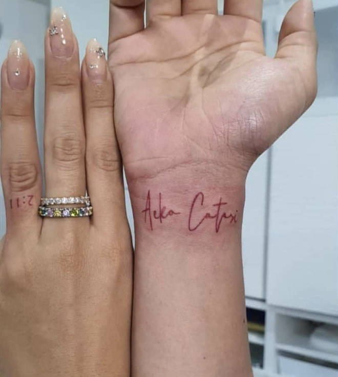 Ammika Harris, who gave birth to her son with Chris Brown, Aeko Catori, back in November, payed homage to her little on in the form of two hand tattoos.