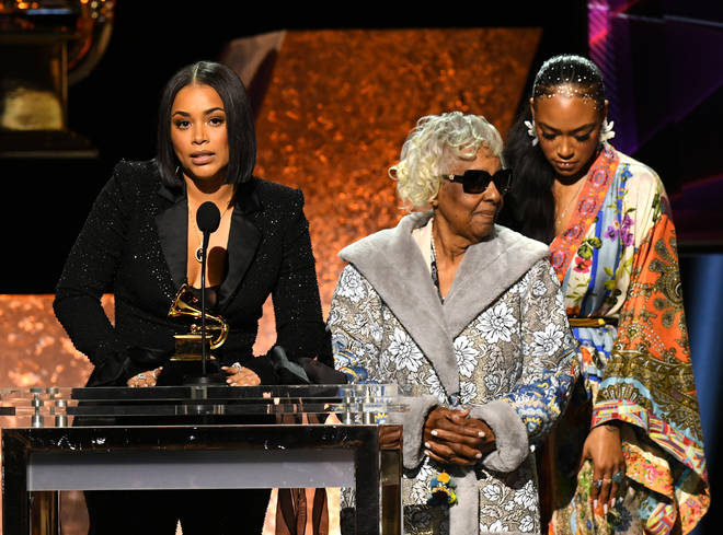 "Nipsey&squot;s widow Lauren London and his family accepted his posthumous award for Best Rap Performance for ""Racks in the Middle""."