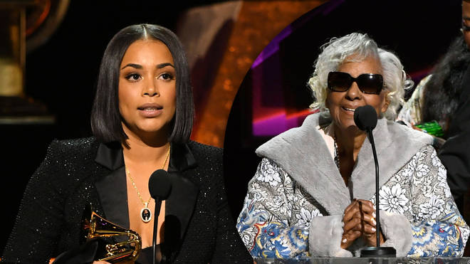 Nipsey Hussle's partner Lauren London accepted the late rapper's first Grammy Award alongside his family.