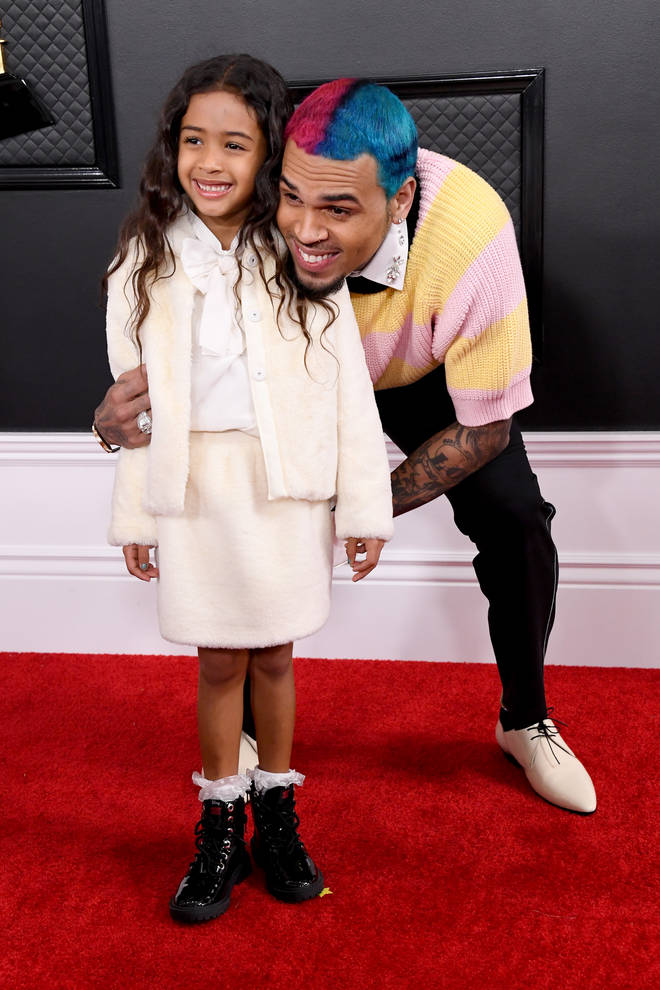 Chris Brown brings his daughter Royalty to the 62nd annual Grammy Awards