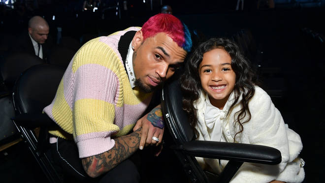 Breezy and Royalty inside at the Grammy Awards