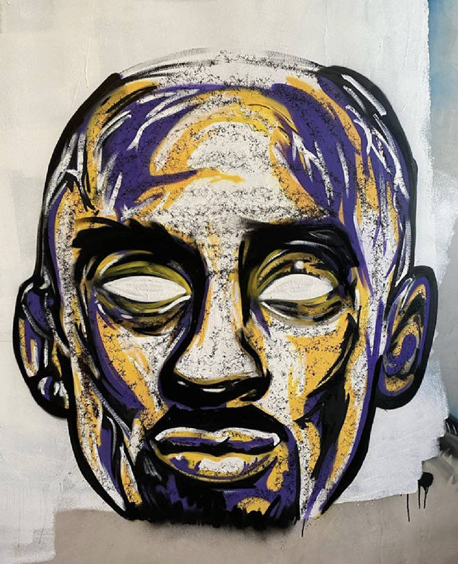 The singer revealed his 'work in progress', a mural of the late basketball player Kobe Bryant who was tragically killed in a helicopter crash last week.