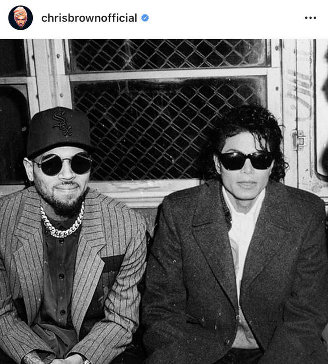 Chris Brown shared a photoshopped edit of himself sitting alongside his idol Michael Jackson.