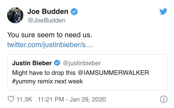 The rapper responded after Justin Bieber teased his upcoming 'Yummy' remix with R&B singer Summer Walker.