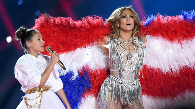 Jennifer Lopez performs with her daughter Emme at the 2020 Super Bowl halftime show
