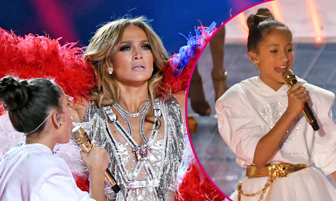 J Lo and her daughter Emme perform during the 2020 Super Bowl halftime show