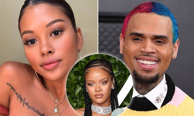 Ammika Harris shared the love for Chris Brown's ex-girlfriend Rihanna on her latest lingerie pic.