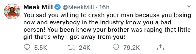 "Meek Mill claims he ""got away"" from Nicki Minaj due to her brother&squot;s sexual assault case"