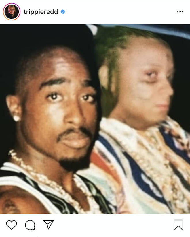 Trippie Redd has been trolled on social media for photoshopping himself into a photo with Tupac.