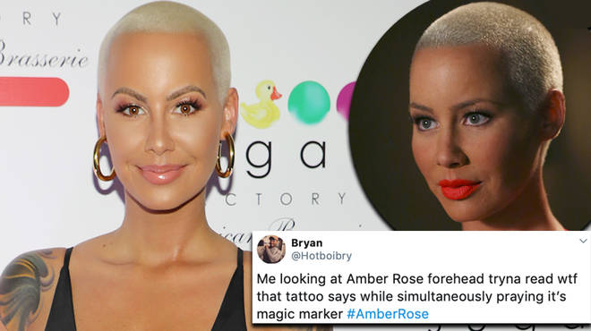 Amber Rose gets roasted for her new forehead tattoos