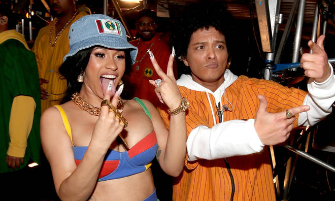 Recording artists Cardi B and Bruno Mars attends the 60th Annual GRAMMY Awards at Madison Square Garden on January 28, 2018 in New York City.