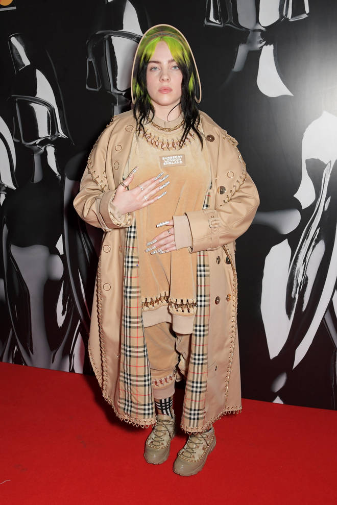Billie rocked a head-to-toe Burberry look.