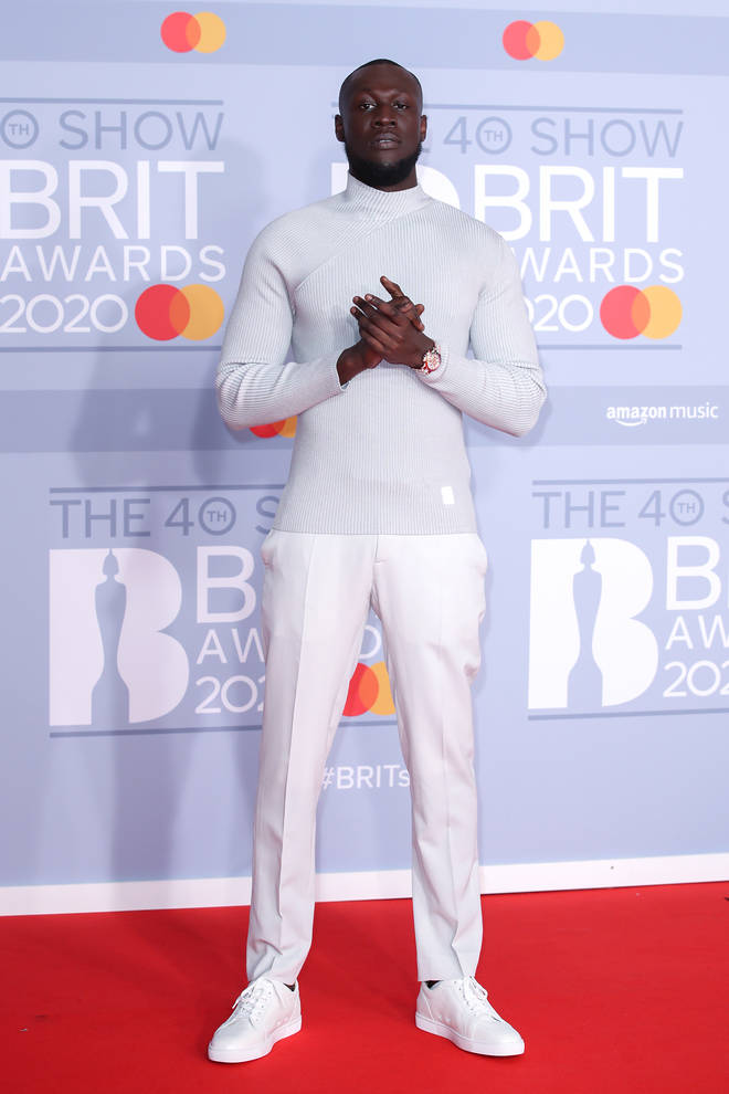 Stormzy looked crisp in an all-white outfit.