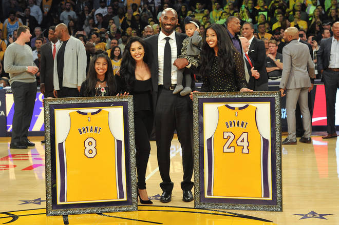Kobe and Gianna Bryant (pictured here with wife Vanessa and daughters Natalia and Bianka) will be honoured dureing a ceremony at the Staples Centre in LA.