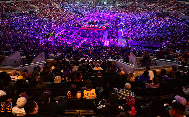"Thousands turned out at the ""Celebration of Life for Kobe and Gianna Bryant"" service at Staples Center in Los Angeles,"