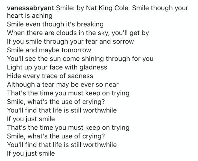 Vanessa quoted the image with lyrics from Nat King Cole's 1954 song 'Smile'.