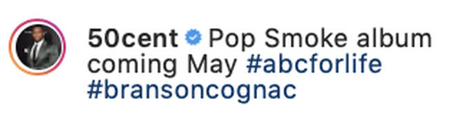 50 Cent gives a rough release date for Pop Smoke's album