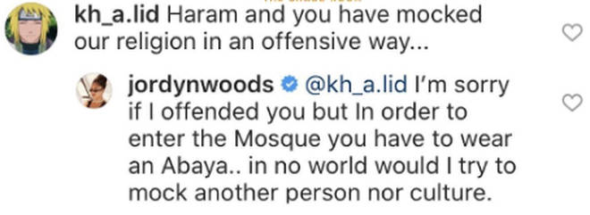 Jordyn Woods responds to user who claims she 'mocked' Islam
