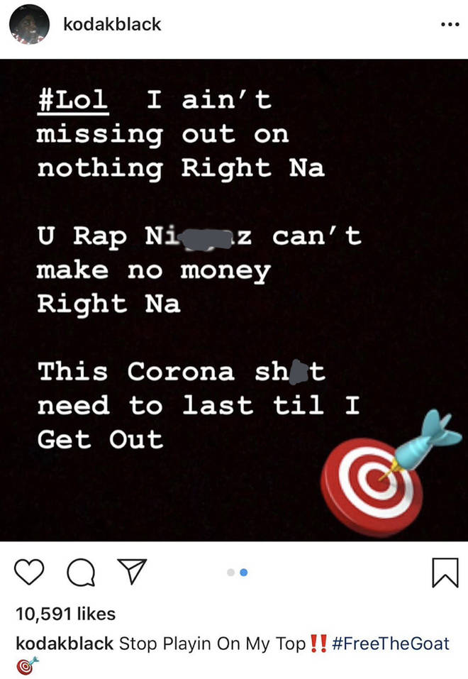 Kodak Black posts his views on Coronavirus