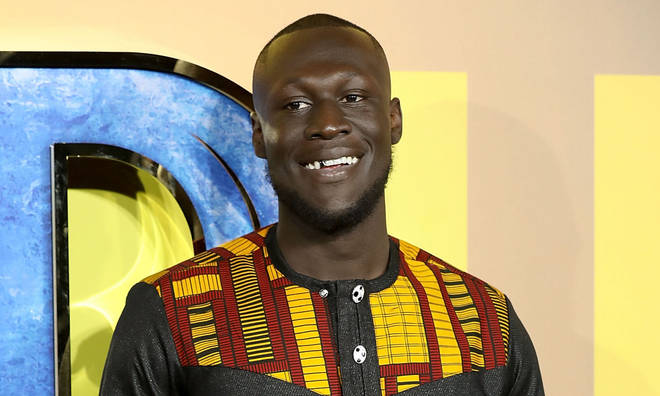 Stormzy attends the European Premiere of 'Black Panther' at Eventim Apollo on February 8, 2018 in London, England.