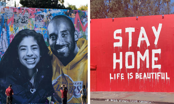 Kobe Bryant mural painted over with coronavirus message