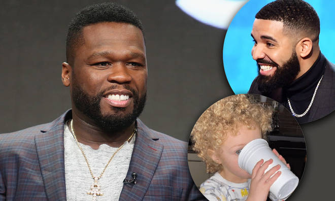 "50 Cent shares ""identical"" side-by-side photos of Drake's son Adonis and his grand mother"
