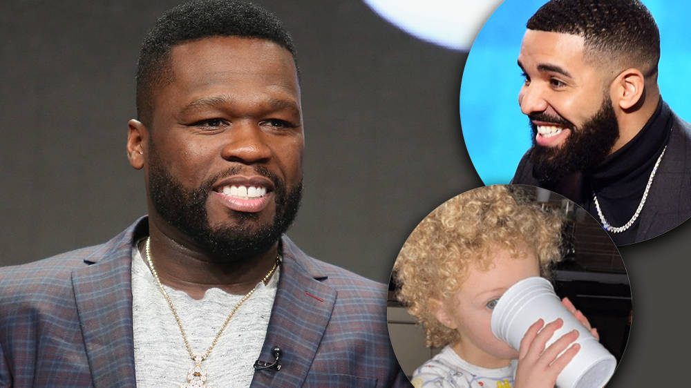 50 Cent reacts to Drake sharing photos of his son Adonis for the first time