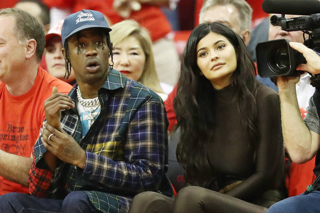 Travis Scott and Kylie Jenner attend Game Seven of the Western Conference Finals of the 2018 NBA Playoffs between the Houston Rockets and the Golden State Warriors at Toyota Center on May 28, 2018 in Houston, Texas.