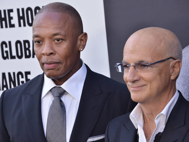 "Dr. Dre and Jimmy Iovine at HBO's ""The Defiant Ones"" premiere in Hollywood."