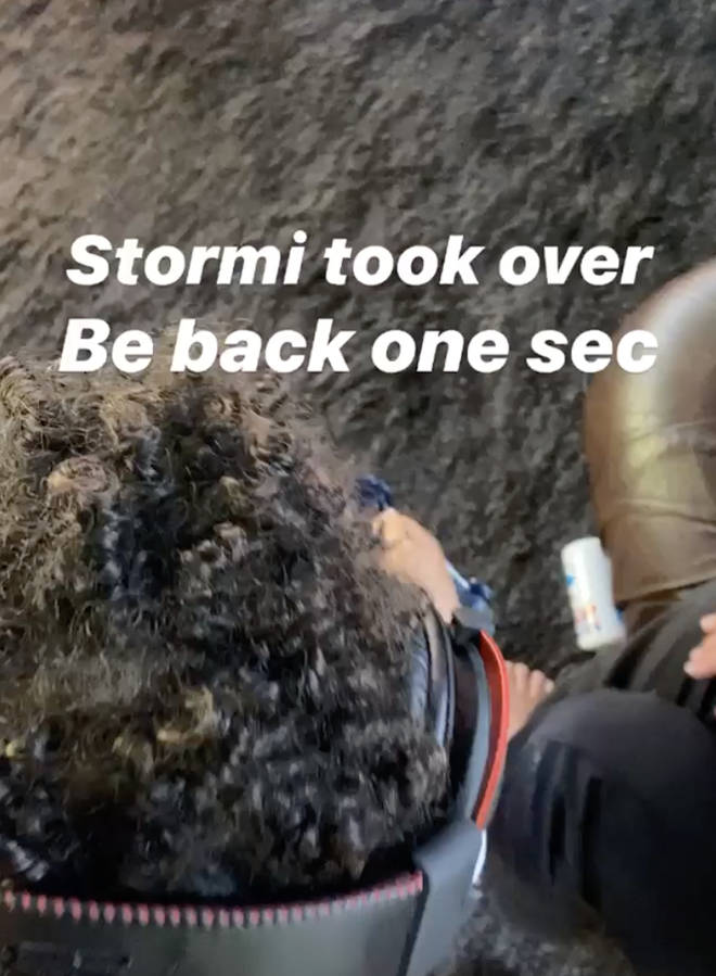 """""""Stormi took over be back one sec,"""" Scott captioned the clip."""