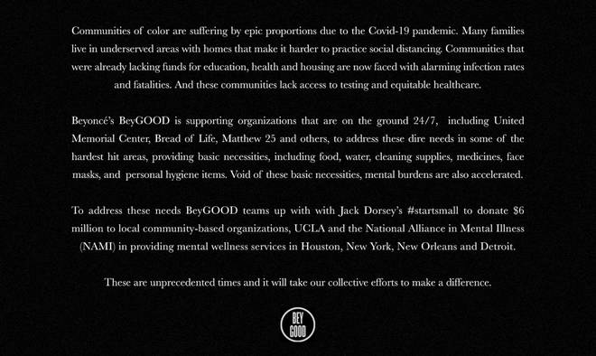 Beyoncé's BeyGOOD website announced the initiative with Twitter CEO Jack Dorsey.