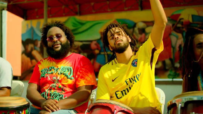 Bas and J. Cole in the official music video for 'Tribe'.