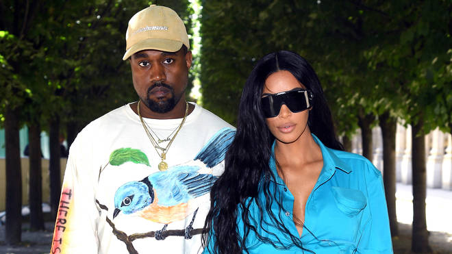 Kanye West and Kim Kardashian attend the Louis Vuitton Menswear Spring/Summer 2019 show as part of Paris Fashion Week on June 21, 2018 in Paris, France.