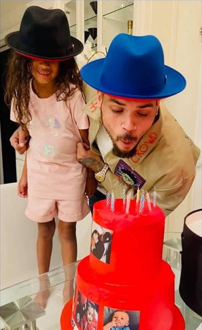 Chris Brown given birthday cake by daughter Royalty
