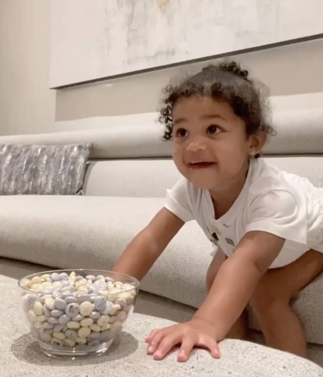 Kylie Jenner shared a video of herself teaching Stormi patience in an adorable video.