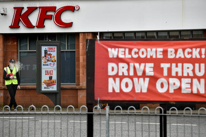 UK has eased some restrictions during lockdown, including reopening some fast food chains like KFC.