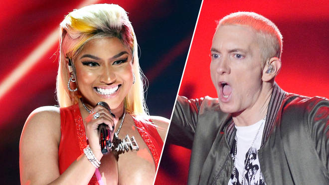Nicki Minaj performs at the 2018 BET Awards/Eminem performs at the 2014 MTV Movie Awards.