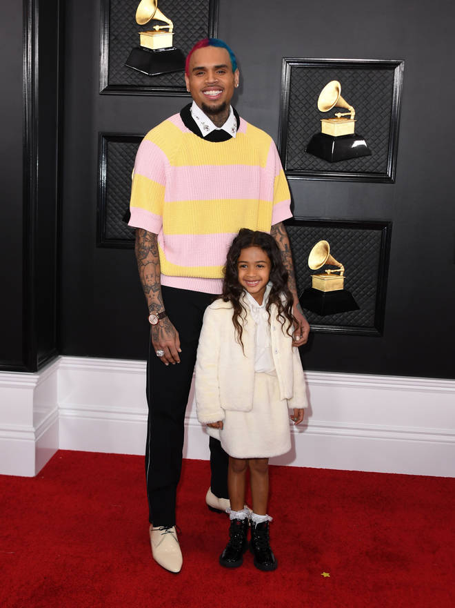 Chris Brown and his daughter Royalty arrive for the 62nd Annual Grammy Awards back in January
