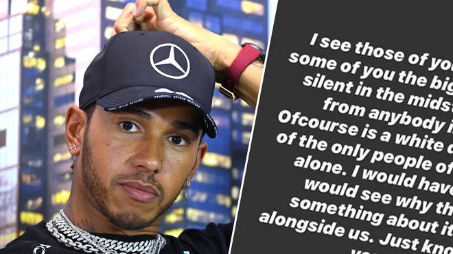 Lewis Hamilton slammed those in his industry who hasn't spoken out about the death of George Floyd.