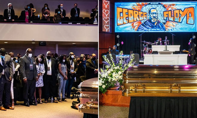 Mourners gathered at Minneapolis North Central University for the funeral of George Floyd, who was killed in police custody in May.