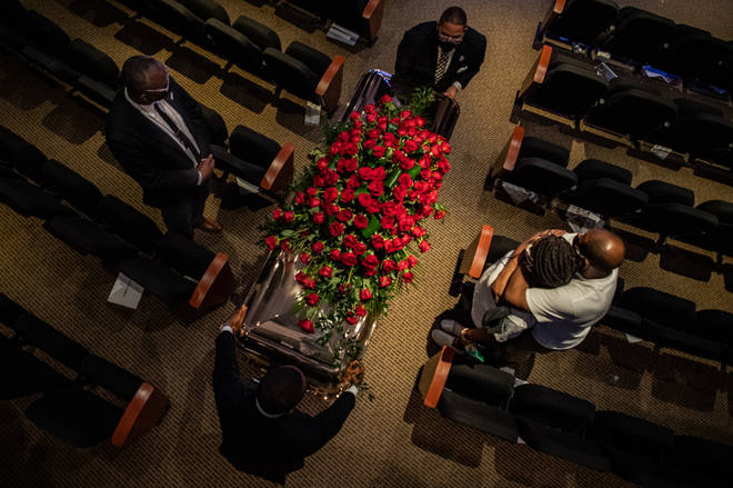 A memorial service for George Floyd took place at Minneapolis North Central University on Thursday.