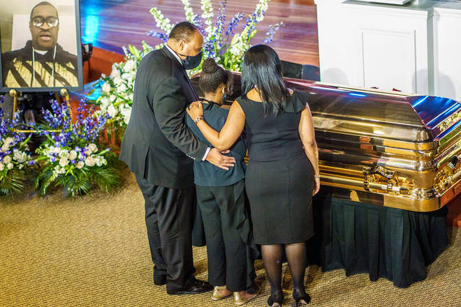 Martin Luther King III and family show their respect to George Floyd during a memorial service in Minneapolis.