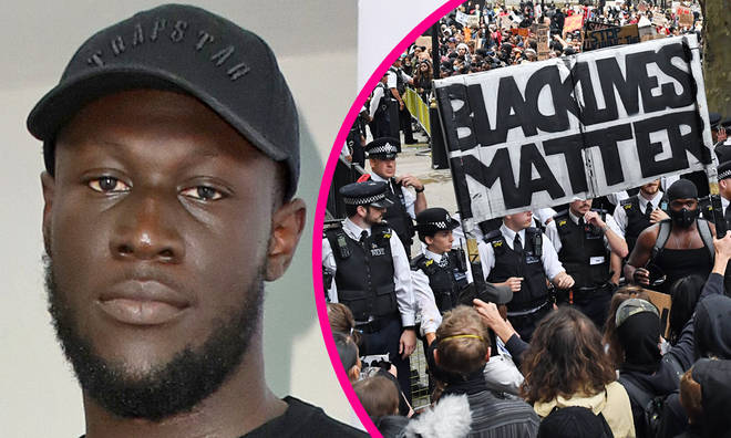 Stormzy spotted at Black Lives Matter London protest