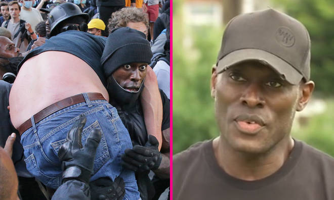 Black Lives Matter supporter helps white man amid far-right riots