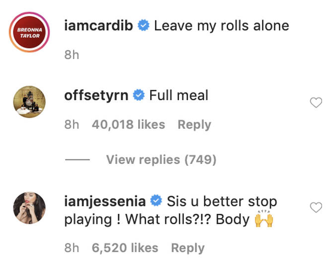 Offset uplifts Cardi B in the comment section to her video on Instagram