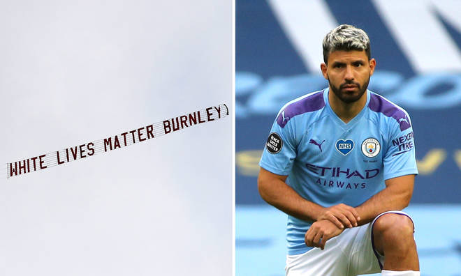 A plane carrying the message 'White Lives Matter' was flown over a football match at the Etihad Stadium.